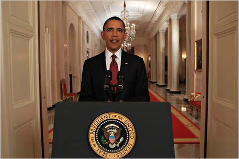 Obama announcing the death of Osama bin Laden