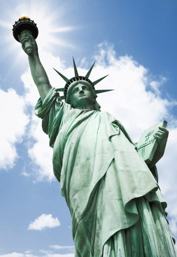 The Statue of Liberty -- See? She's totally flat.